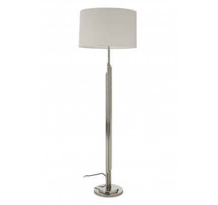 Richmond Floor Lamp Stainless Steel Base White Fabric Shade