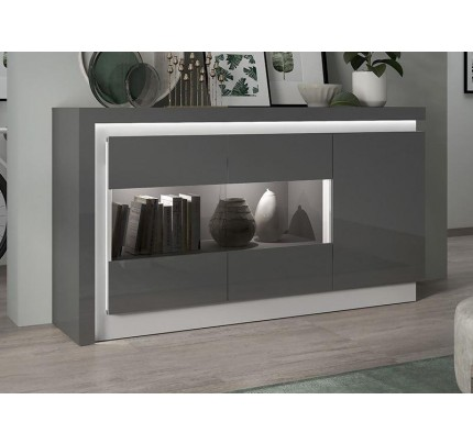 Lyon 3 Door Glazed Sideboard Grey Gloss