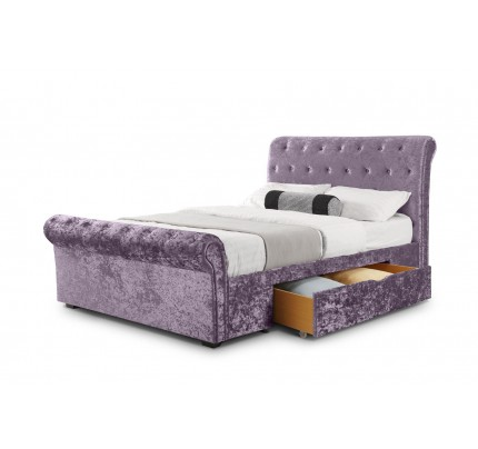 Verona 2 Drawer Storage Lilac Crush Velvet Bed
