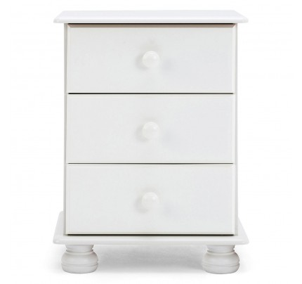 Copenhagen 3 Drawer Bedside in White