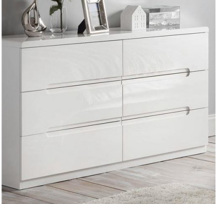 Manhattan 6 Drawer Wide High Gloss White Chest of Drawers