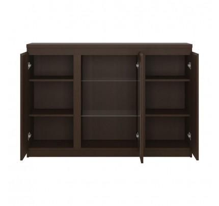 Pello 3 Door Sideboard (Glazed Centre) in Dark Mahogany