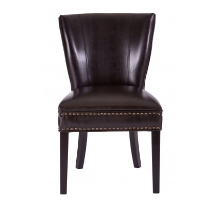 Oxford Stud Chair Brown Bonded Leather Birch Wood