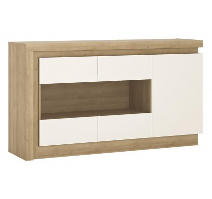 Lyon 3 Door Glazed Sideboard White Gloss
