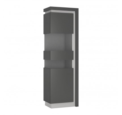 Lyon Tall Narrow Display Cabinet (LH) Grey Gloss